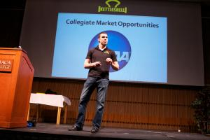 Tim Reynolds on stage presenting his business idea for the Kettleshell