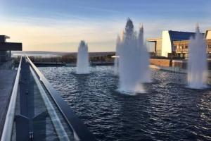 image of IC fountains at dusk