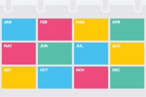 colorful calendar of months