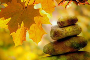 Stacked stones and autumn leaves.