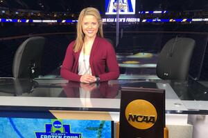 Female student at NCAA news desk