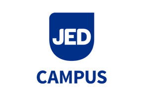 "white background with a blue shield with the letters ""JED"" in white with the word ""CAMPUS"" in blue letters below the shield"