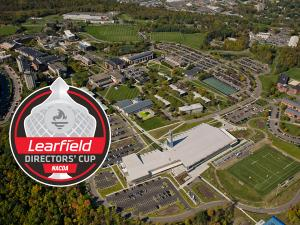 Learfield Directors' Cup Logo over an aerial of the Ithaca College campus