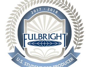 Logos for Fulbright Awards for U.S. Scholar Top Producer and U.S. Student Top Producer.