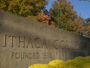The entry sign to Ithaca College