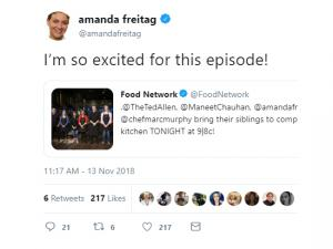 "Screenshot of an Amanda Freitag tweet about ""Chopped"""
