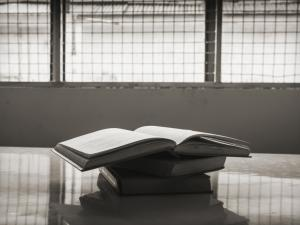 Books on a table in front of prison windows