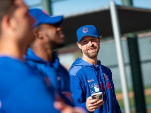 Josh Lifrak works with the Chicago Cubs during Spring Training