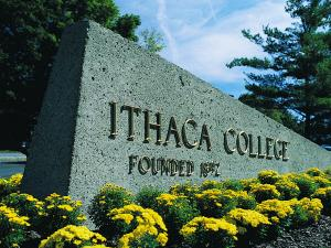 entrance sign for Ithaca College