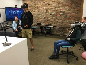 Students in virtual reality headsets