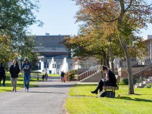 Students travel across campus during a class change.