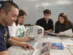 students in newsroom