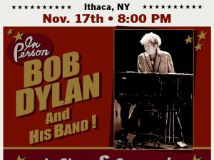 Bob Dylan concert graphic with photo of singer at a piano