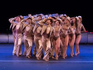 Group of performers during a production of 'Chorus Line.""