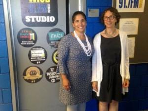 President Shirley M. Collado and Dean Melanie Stein stand outside the WICB studio.