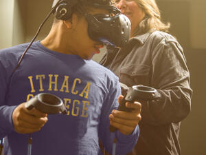 Student participating in VR.