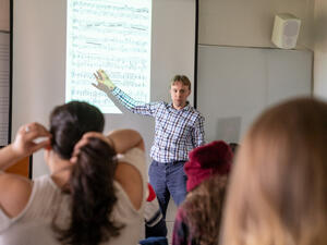 Professor Russell Posegate teaching a Music Theory class.