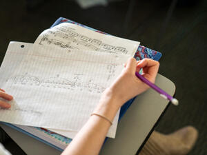 Students note-taking in Music Theory class.