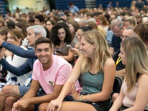 students attending the orientation welcome