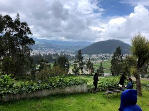 A photo of Ecuador, lush green field with a volcano in the background.