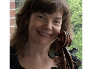 Elizabeth Simkin with her cello.