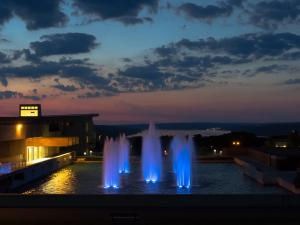 Ithaca College fountains at dusk.