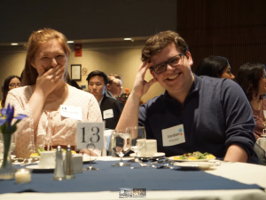 International Business students attending an etiquette dinner