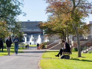 Students travel across IC campus during a class change.