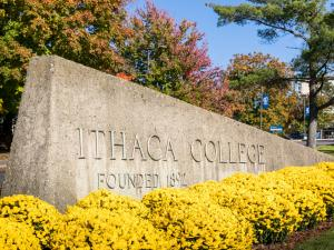 entrance sign to Ithaca College