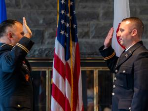 The Ithaca College Community celebrates the ROTC commissioning ceremony.