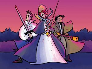 two caricature men and one caricature woman holding swords with wind blowing through their clothes dramatically. None of them have noses