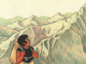 young black girl looking out over a mountain
