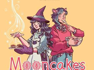 one witch wearing an apron and one werewolf standing back to back against a yellow background