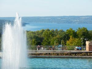 View of Ithaca College Fountain and Cayuga Lake from IC Campus.