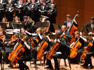 Students playing in an orchestra