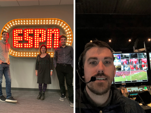 Cote, Greenfield, and Vorensky pose in front of an ESPN sign, Jahn in Control room