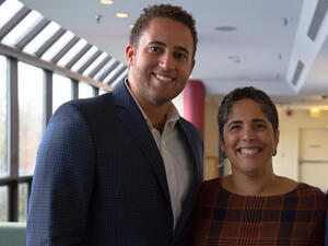 Ithaca Mayor Svante Myrick stands with Ithaca College President Shirley Collado