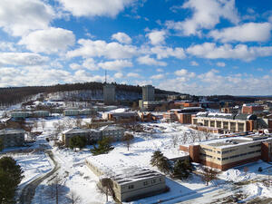 aerial of campus in winter