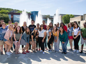 Group of students in front of the IC fountain