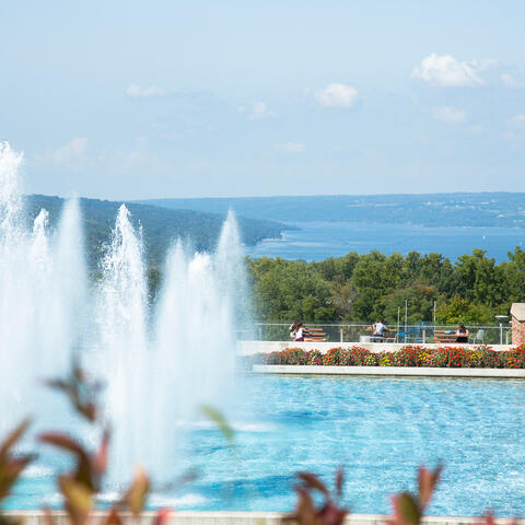 Dillingham fountains overlooking Cayuga Lake