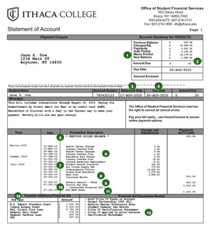 An sample of an Ithaca College account statement