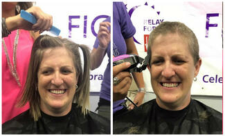 A woman before and after having her head shaved