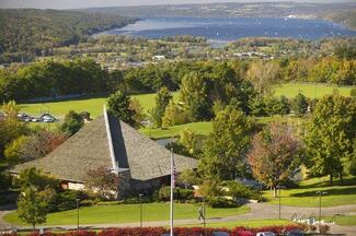 Campus view looking at Cayuga Lake