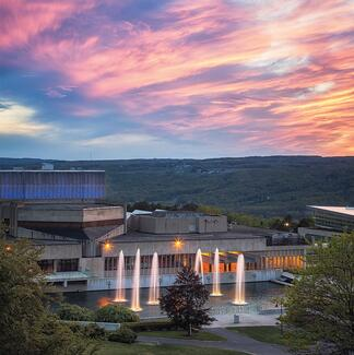 campus sunset over the fountains