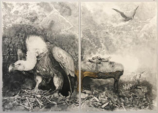 An example of a work by Carla Stetson: an ink collage of a vulture.