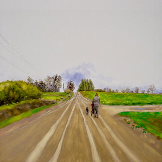 Example of an oil painting by Lin Price showing a long road in green country with a figure walking toward the horizon.