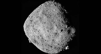 A round asteroid in space