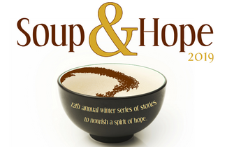 "Empty bowl with text reading ""Soup & Hope"""