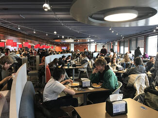 Students eat in Campus Center Dining Hall