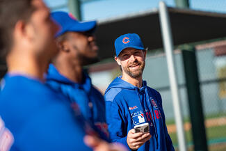 Josh Lifrak works with the Chicago Cubs at Spring Training